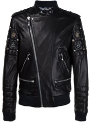 Philipp Plein Quilted Sleeve Biker Jacket Black