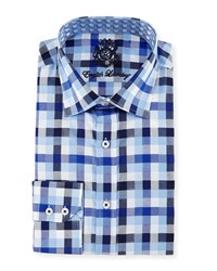 English Laundry Big Check Woven Dress Shirt Navy Blue White