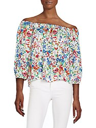 Collective Concepts Floral Print Off The Shoulder Peasant Top Multi
