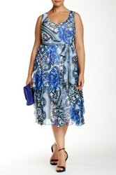 Robbie Bee Sleeveless Printed Dress Plus Size Blue