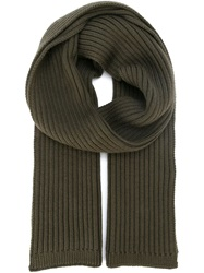Dolce And Gabbana Chunky Ribbed Knit Scarf Grey