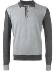 Canali Polo Collar Jumper Grey