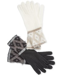 Charter Club Fair Isle Chenille Gloves Only At Macy's Black Grey