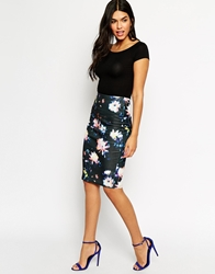 Ax Paris Pencil Skirt In Brush Sroke Floral Black