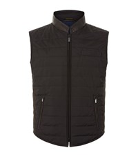 Zilli Silk Quilted Snake Trim Gilet Male Black