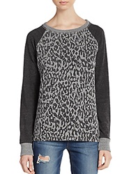 Candc California Colorblock Cheetah Print Sweatshirt Heather Grey