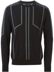 Les Hommes Intarsia Knit Sweater Black