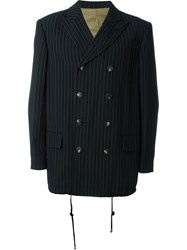 Jean Paul Gaultier Vintage Double Breasted Pinstripe Blazer Black