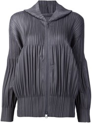 Issey Miyake Pleats Please By Pleated Hoodie Grey