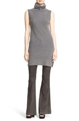 Alice Olivia Women's 'Fay' Side Slit Ribbed Wool And Cashmere Turtleneck Tunic Charcoal