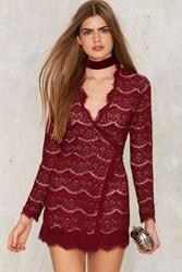Millicent Lace Wrap Dress Red