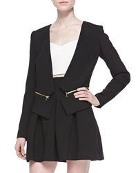 Milly Double Weave Cady Zip Off Blazer