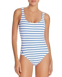 Ralph Lauren Polo French Stripe Laced Back One Piece Swimsuit Blue