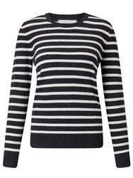 John Lewis Collection Weekend By Luxury Cashmere Stripe Jumper Black White