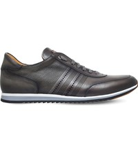 Magnanni Perforated Leather Trainers Grey