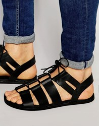 Asos Gladiator Sandals In Black Leather With Tie Lace Black