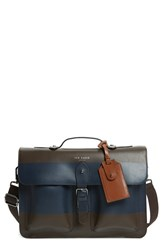 Men's Ted Baker London 'Leemer' Stripe Leather Satchel Brown Chocolate