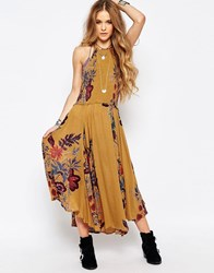 Free People Seasons In The Sun Midi Dress Mustard Yellow
