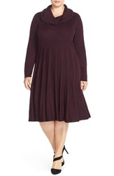 Calvin Klein Cowl Neck Fit And Flare Sweater Dress Plus Size Aubergine