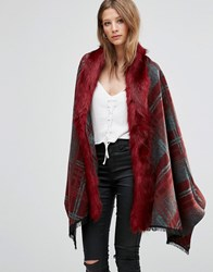 Jayley Check Faux Fur Trim Oversize Coat In Red Red