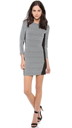 Myne Jett Fitted 3 4 Sleeve Dress Zigzag Stretch