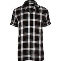 River Island Mens Black Grunge Checked Short Sleeve Shirt