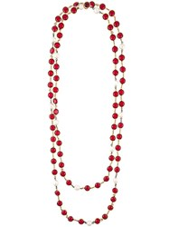 Chanel Vintage Double Strand Gripoix Necklace Red