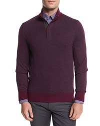 Ermenegildo Zegna Birdseye Cashmere Blend Quarter Zip Sweater Purple Size 58