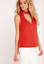 Missguided Choker Neck Vest Top Red Red