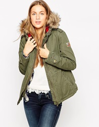 Tommy Hilfiger Hilfiger Denim Oda Faux Fur Hooded Parka Green