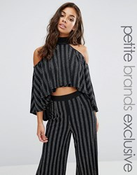 Naanaa Petite High Neck Layered Ruffle Crop Top In Glitter Stripe Black Silver