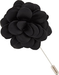 Lanvin Leather Blooming Rose Tie Pin Black