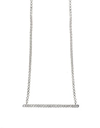 Effy Pave Classica 14Kt White Gold Diamond Horizontal Bar Necklace
