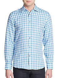 Report Collection Regular Fit Check Linen Sportshirt Turqouise