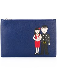 Dolce And Gabbana Family Patch Clutch Blue
