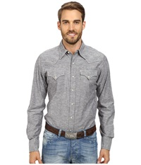 Stetson Slub Chambray Top Grey Men's Long Sleeve Button Up Gray