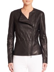Elie Tahari Asymmetrical Zipper Leather Jacket Black