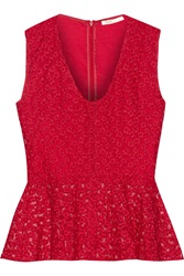 Maje Faubert Embroidered Mesh And Cotton Peplum Top