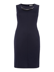 Persona Dove Shift Dress With Necklace Detail Navy