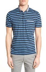 Men's Good Man Brand Microlight Stripe Jersey Polo Navy Blue