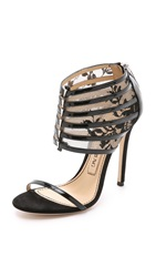 Prabal Gurung Leather And Lace Sandals