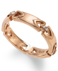 Proposition Love 14K Rose Gold Over Silver Diamond Accent Wedding Band