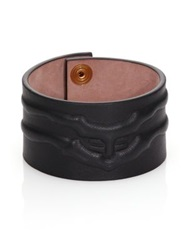 Alexander Mcqueen Rib Cage Leather Cuff Bracelet Black
