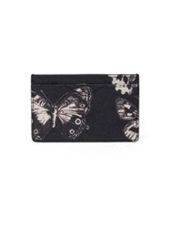 Alexander Mcqueen Moth Calfskin Leather Cardholder Black White
