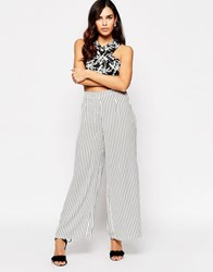 Glamorous Wide Leg Trousers In Stripe Mix Print Wht Blk Stripe White