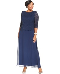 Alex Evenings Plus Size Three Quarter Sleeve Sequined Lace Gown Navy