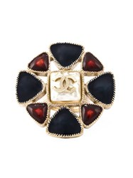 Chanel Vintage Embellished Logo Ring Blue