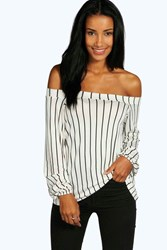 Boohoo Stripe Off The Shoulder Swing Top Cream