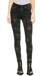Citizens Of Humanity Rocket Hand Painted Skinny Jeans Glam Punk