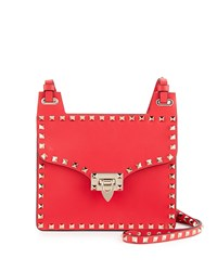 Red Valentino Rockstud Leather Lock Flap Square Shoulder Bag Bright Red